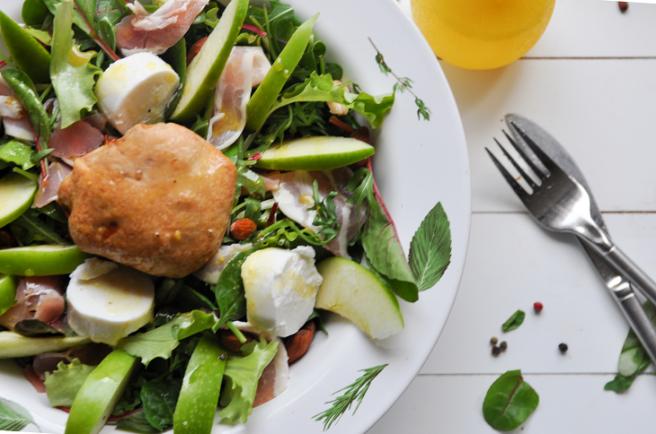 Foodboxchallenge frisse salade geitenkaas groene appel spek 2 Zippora Foodteacher StudioKOOK verkleind.png